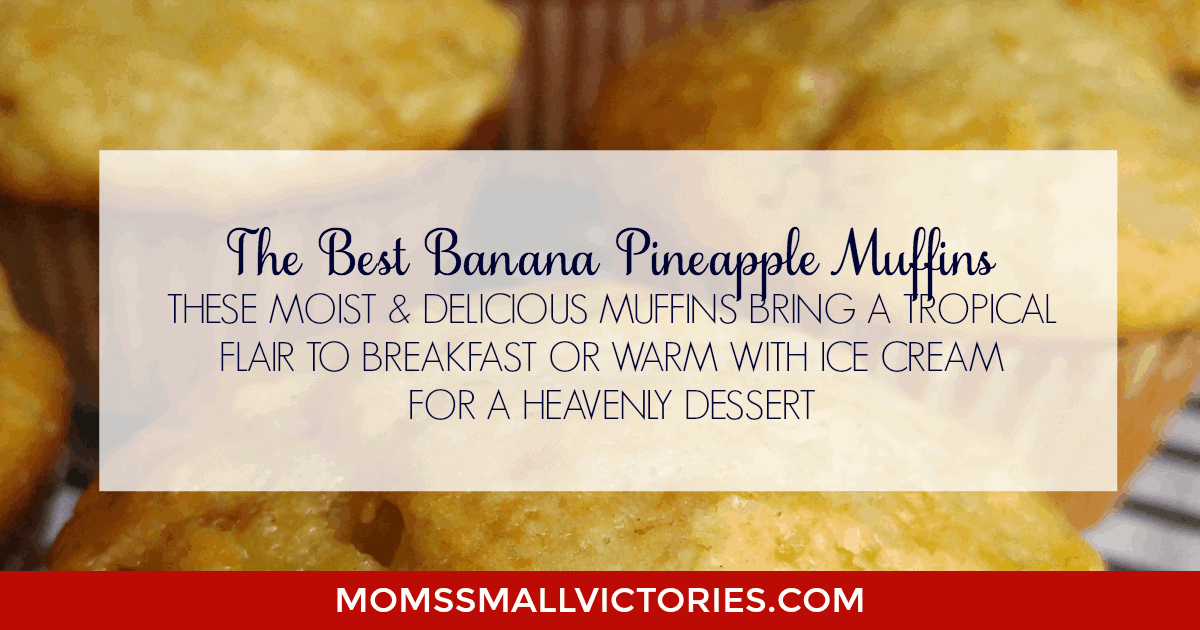These moist and delicious Banana Pineapple Muffins bring a tropical flair to breakfast. Serve them with fruit and coffee, milk or juice for a quick and easy, on the go breakfast or serve warm topped with ice cream and caramel for a HEAVENLY dessert.