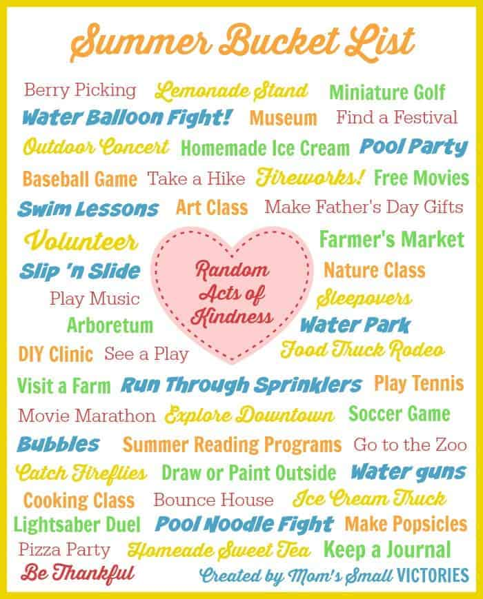Summer Bucket List Free Printable full of free, frugal and fun ideas to ensure a fabulous and memorable summer with your kids.