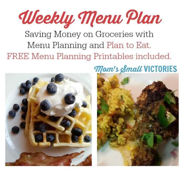 Weekly Menu Plan – May 11, 2015