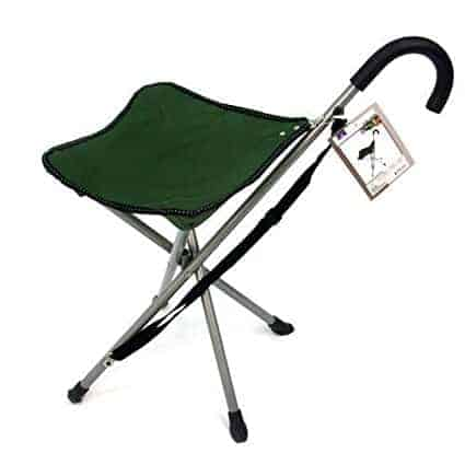 This cane chair is a lifesaver for soccer moms and those with Rheumatoid Arthritis, painful feet or joint mobility issues. As light as an umbrella, this chair serves as a cane for walking and an instant chair whenever and wherever you need it. A perfect gift for those with Rheumatoid Arthritis, painful feet or joint mobility issues.