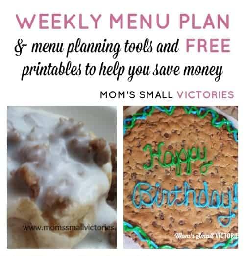 Weekly Menu Plan – Nov. 5, 2015