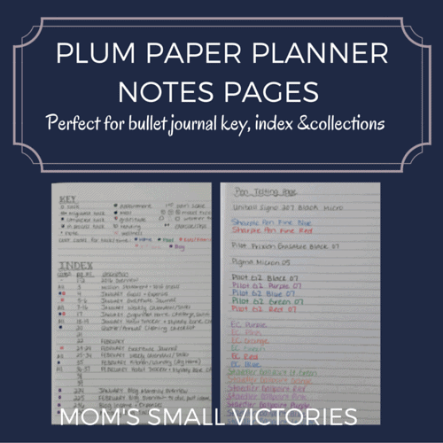 Plum Paper Planner Notes Pages are perfect for bullet journal key, index & collections.