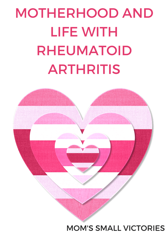 Motherhood and Life with Rheumatoid Arthritis by Mom's Small Victories. Juggling life, motherhood, a blog and life with RA. Tips on coping with chronic illness and the unexpected lessons Rheumatoid Arthritis has taught my family.