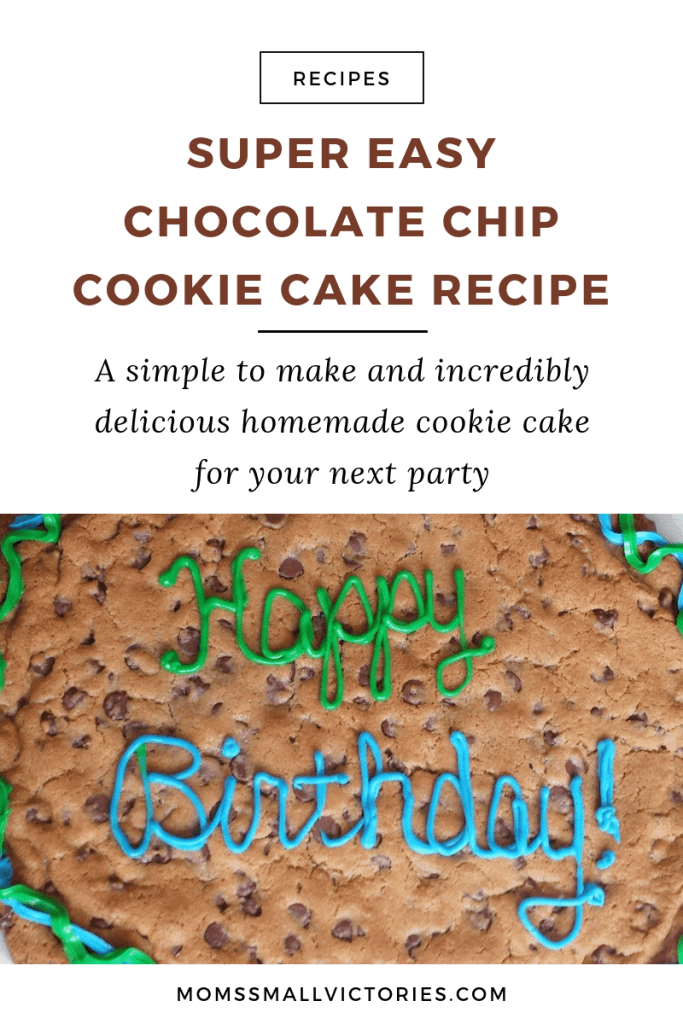 Super Easy Chocolate Chip Cookie Cake Recipe that's simple to make and incredibly delicious. Your party guests will love it!