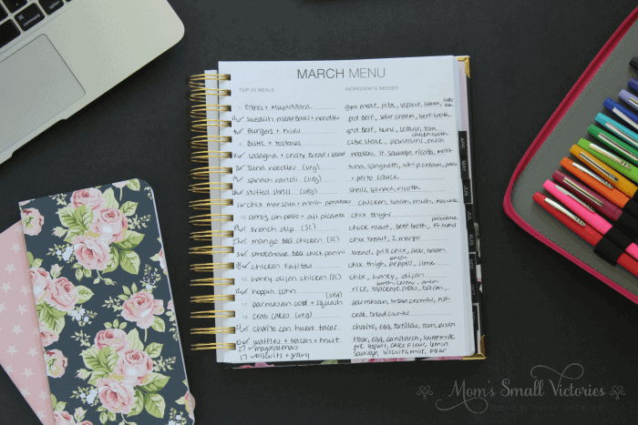 Completed march menu plan in the Purposeful Planner. I use Plan to Eat menu planning tool to determine what meals to make for the month and check it off and write the date that I made it in order to keep track of how old leftovers are so we waste less food.