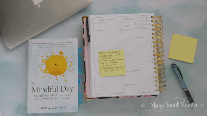The Mindful Day by Laurie J. Cameron. Banish Multitasking. Choose a mindfulness activity from the table of contents that will help you overcome an area of struggle in your life. Read the short chapter, journal your intentions and implement the How to exercises at the end of the short chapter. Keep a postit of the action steps in your planner or on your workspace to make sure you remember to practice it. The Mindful Day is a practical guide to implementing mindfulness into all aspects of your daily life.