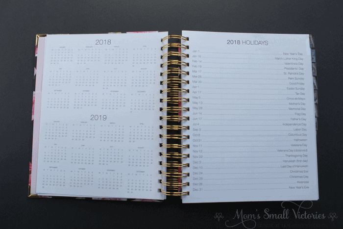 The Purposeful Planner Review: 2018 and 2019 yearly calendars and 2018 US Holidays