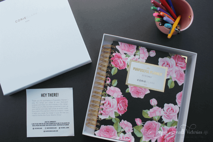 The Purposeful Planner has THE most gorgeous and sturdiest cover of the planners I've ever owned. I normally prefer silver to gold but the gold coil and accents on the cover are stunning. The planner comes in a hard, keepsake box so it arrived in perfect condition.
