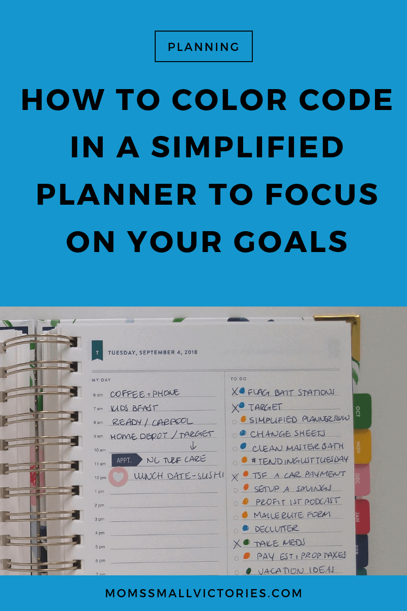 How to Color Code in a Daily Simplified Planner to Focus on Your Goals. Color coding how your time is spent and your daily tasks can help ensure you achieve the work/life balance you desire and stay focused on the goals that are most important to you. See how here.