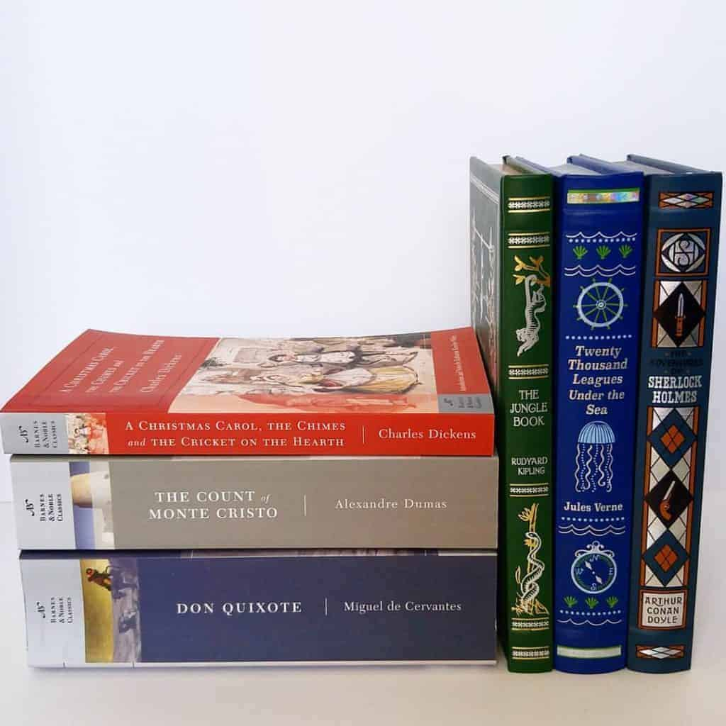 Reading challenge ideas: the start of my Barnes and Nobels paperback classics collection for me and the Barnes & Noble Leatherbound Children's Classics for my kids that are gorgeous!
