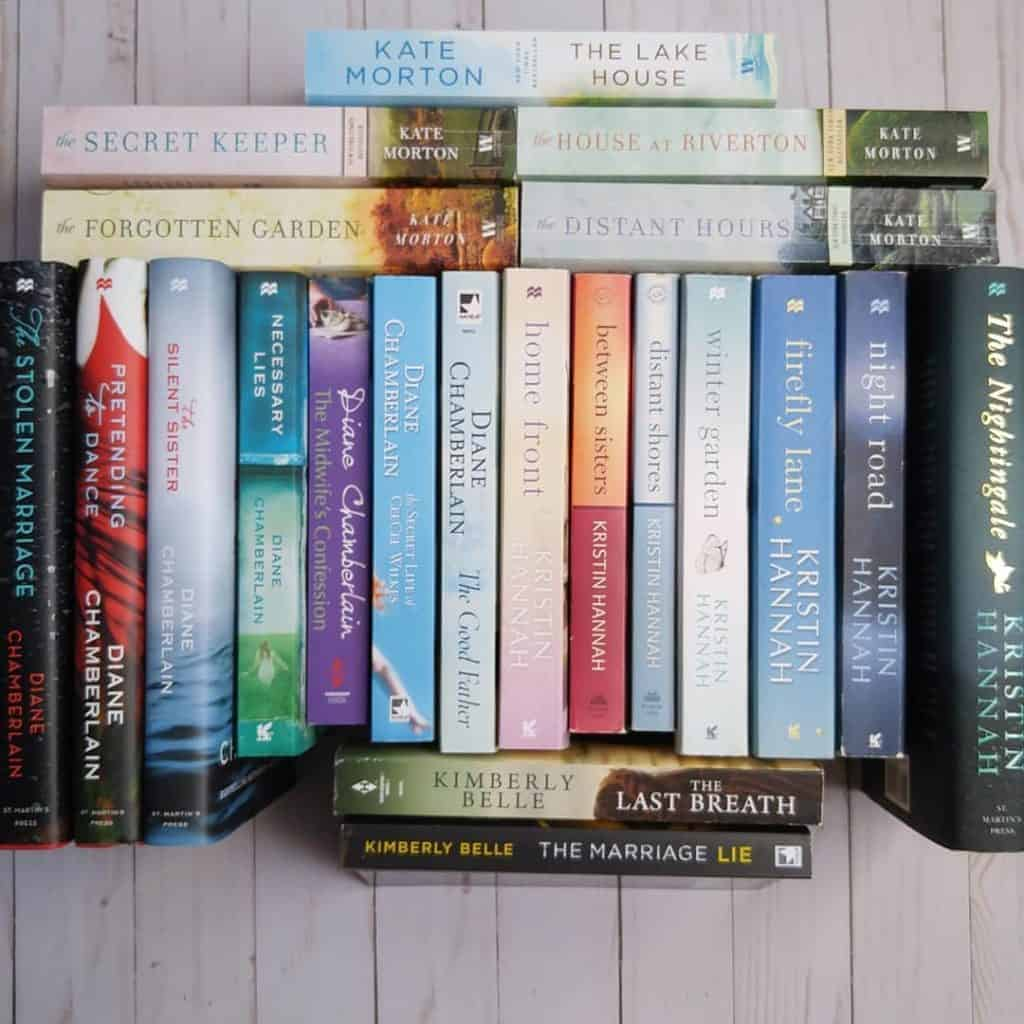 Reading challenge ideas: read your favorite author's backlist of books. Here are a few of my favorites: Diane Chamberlain, Kate Morton, Kristin Hannah and Kimberly Belle.