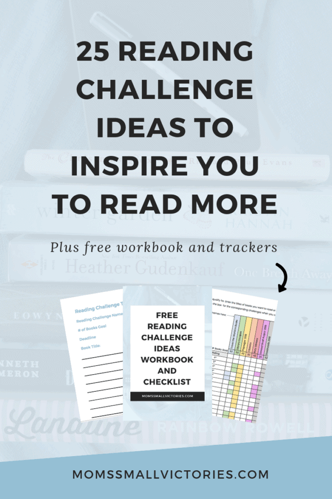 Want to read more but don't know where to start? Do you find reading challenges too restrictive? Grab these 25 free reading challenge ideas to inspire you to read more. Plus subscribers get a free workbook, checklist and trackers to help you create your own reading challenge and start reading more now!