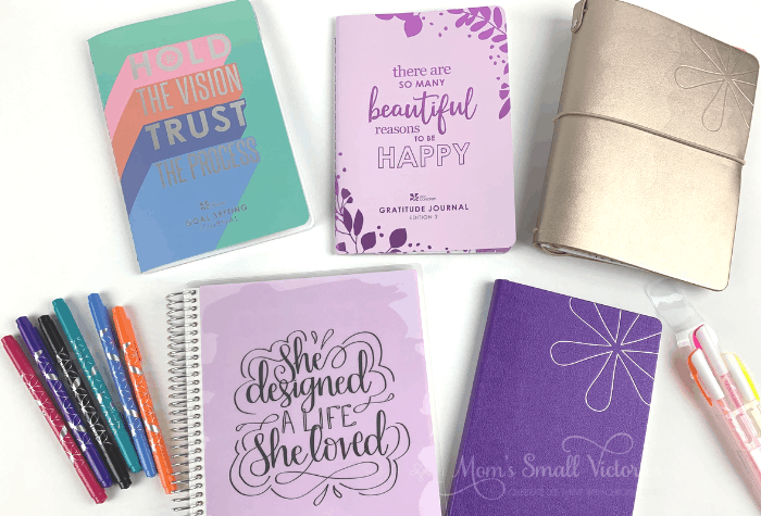it's easy to get started journaling with any of these erin condren journals, notebooks and pens. feautred here are the erin condren coiled notebook, erin condren softbound notebook, erin condren goal setting journal, erin condren gratitude journal, erin condren on the go folio and erin condren dual tip markers and designer gel pens in neon