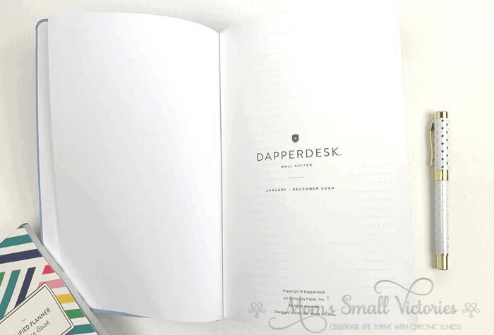 The Dapperdesk Planner Review 2020. The title page of the Dapperdesk simply states the planner name and calendar year. There is blank space to write your name, attach a business card if you wish.