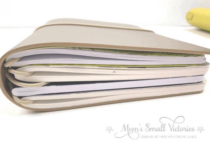 the erin condren on the go folio holds 4 journals and is about 1.25 inches thick when all 4 journals are included. The Erin Condren On the Go Folio and daily petite planner is the best portable productivity system