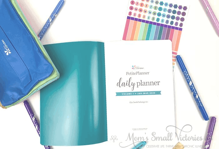 Erin Condren Daily Petite Planner Review. the inside cover and title page of the Erin Condren Daily Petite Planner coordinates with the front cover. A simple page to write your personal info.