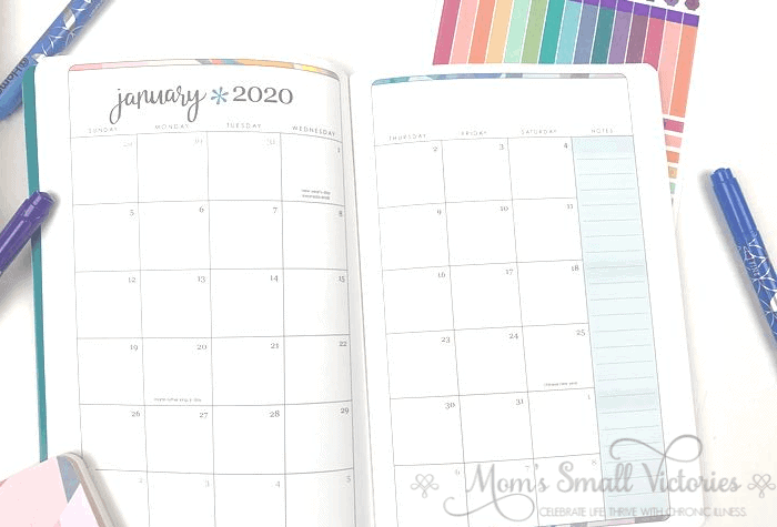 Erin Condren Daily Planner Review. The Monthly calendar is a Sunday start and shows six full weeks so you can jot down what's coming in the first week of the next month. There's also a colorful column for notes. See the post for ideas of how to use the monthly calendar to increase your productivity.