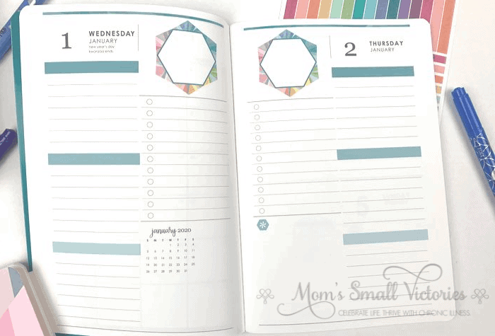 Erin Condren Daily Planner Review. The weekdays have a one page per day layout with 3 lined sections with a colored subheading, a to do list space and a blank space. There is a mini monthly calendar in the blank space on the left hand side page. See my post for how to use the subheadings and lined space to maximize your productivity and get more done in less time and creative ideas for that colorful hexagon on each page!.