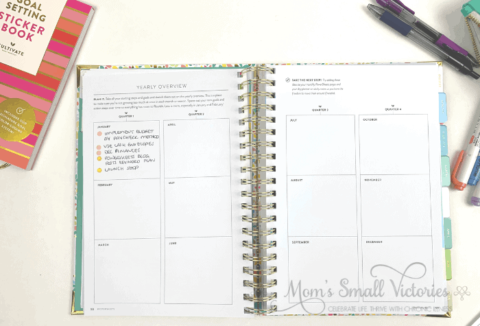 The Powersheets 2020 goals planner has a yearly overview where you can plan out what you'll be working on each year. I'll be using this page to mark action steps so at the end of the year I can see what I attempted and what was accomplished.