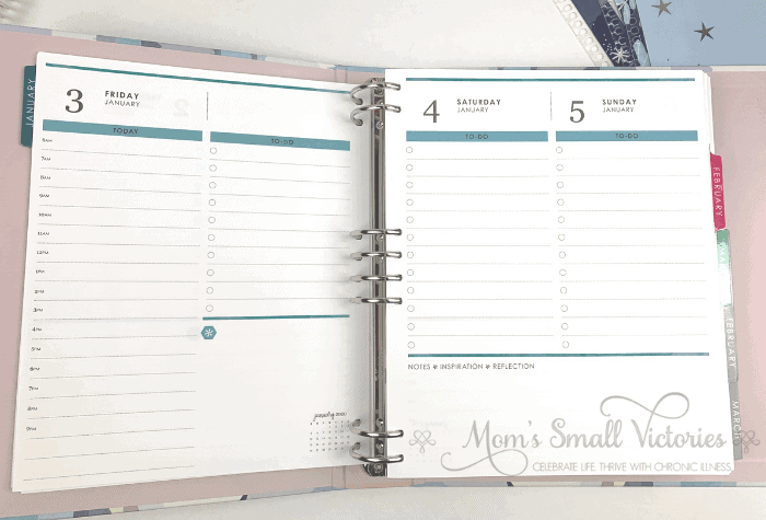 Erin Condren Daily Planner Binder. The daily pages have one page per weekday and Saturday and Sunday share a page. Plenty of space for tracking your busy schedule and to do list. See a complete Erin Condren binder review here.