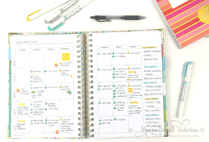 How to Use the Power Sheets 2020 monthly calendar for your schedule. I used color coding dots for all the appointments and events we had going on in January and checked off each one as completed. I tracked family time and happy memories too. The sidebar I used for weekly goals to focus on for home and blog.  #powersheets #powersheets2020 #goalplanners #momssmallvictories
