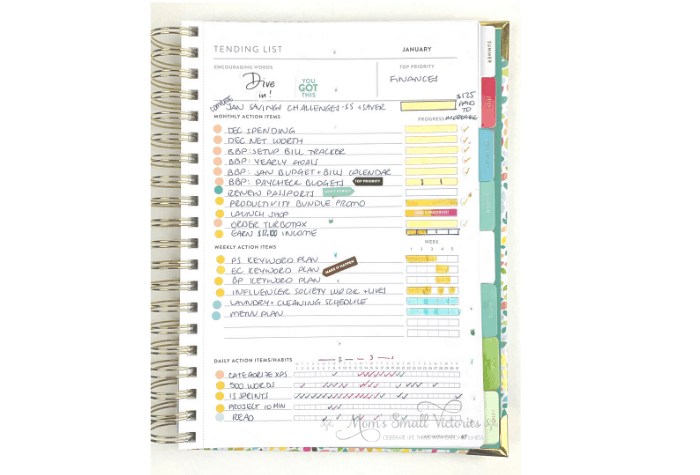 Powersheets 2020 January tending list at the end of the month shows what I accomplished and what's still left to do from my monthly, weekly and daily action items. #powersheets #powersheets2020 #planner #goalplanner #momssmallvictories