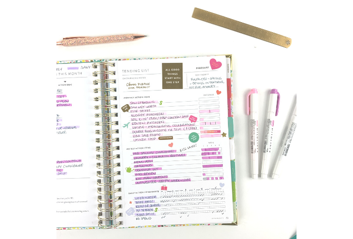 Powersheets 2020 February end of month tending list with goals accomplished, Erin Condren glitter pen and gold ruler and Zebra Mildliner highlighters